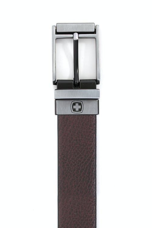 SWISSGEAR VAUD BLACK-BROWN REVERSIBLE BELT LIGHTLY GRAINED BROWN