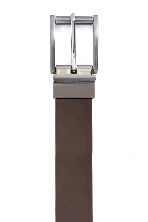 SWISSGEAR VILLARS BLACK-BROWN REVERSIBLE DRESS BELT BROWN SIDE IS MADE OF SMOOTH LEATHER