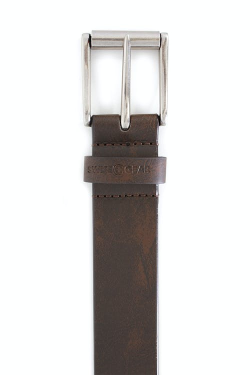 SWISSGEAR WASSEN BELT IN BROWN SMOOTH MATTE LEATHER BODY