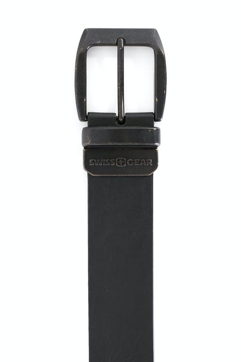 SWISSGEAR BERN BLACK-BROWN REVERSIBLE BELT BLACK SIDE VINTAGE FINISH BUCKLE IN BLACK OVER BRASS