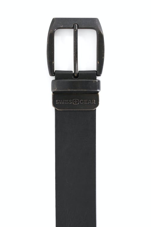 SWISSGEAR BERN BLACK-BROWN REVERSIBLE BELT BLACK SIDE VINTAGE FINISH BUCKLE IN BLACK OVER BRASS