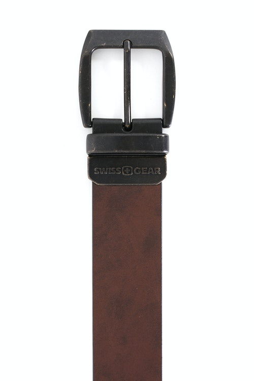 SWISSGEAR BERN BLACK-BROWN REVERSIBLE BELT BROWN SIDE VINTAGE FINISH BUCKLE IN BLACK OVER BRASS