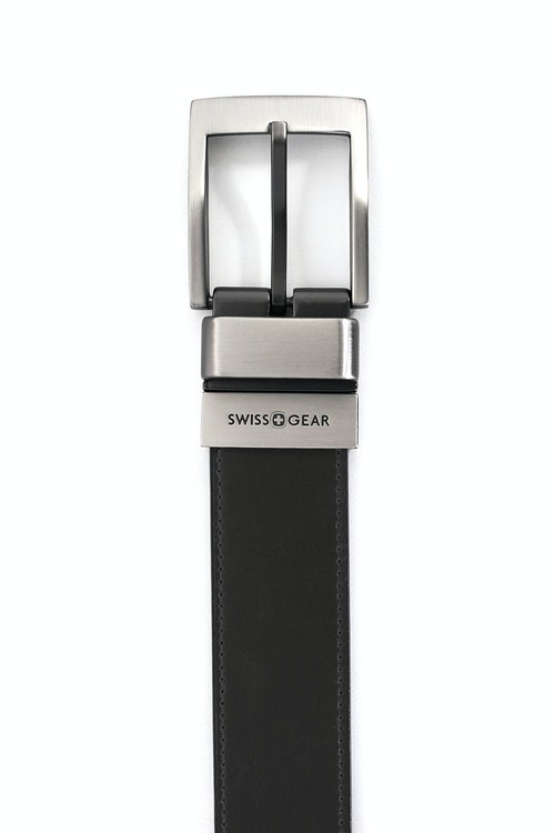SWISSGEAR WILER BLACK-LIGHT BROWN REVERSIBLE BELT. BLACK SIDE WITH SMOOTH LEATHER WITH CONTRAST STITCHING