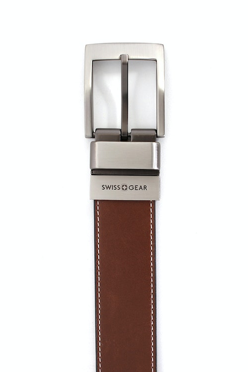 SWISSGEAR WILER BLACK-LIGHT BROWN REVERSIBLE BELT. BROWN SIDE WITH SMOOTH LEATHER WITH CONTRAST STITCHING