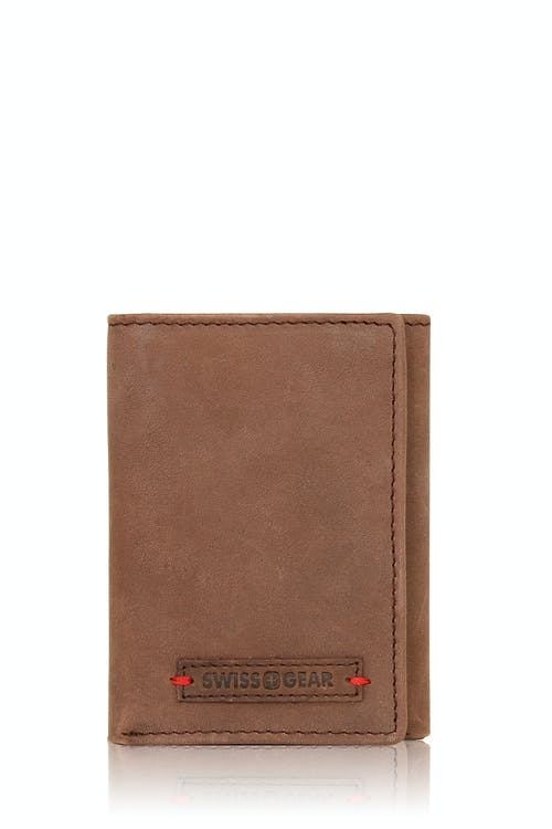 Swissgear Rugged Leather Red Stitch Trifold Wallet - Brown