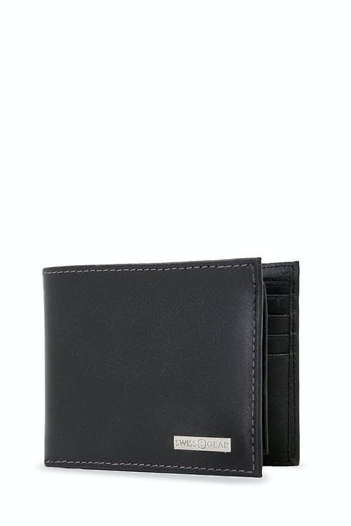 SWISSGEAR Lucerne Bifold Wallet with Removable Card Case  WITH SMOOTH LEATHER WITH GUNMETAL CONTRAST STITCHING