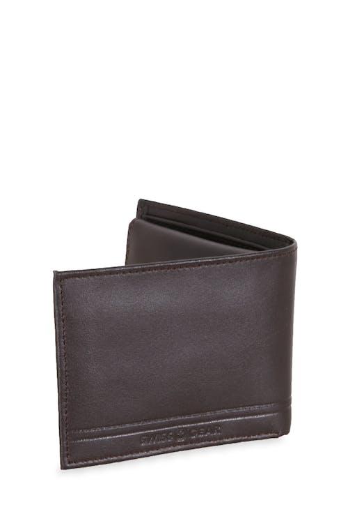 Swissgear Men's Embossed Double Stripe Bifold Wallet Durable, sleek leather design