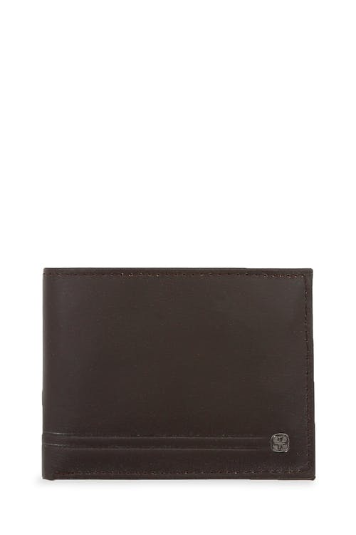 Swissgear Men's Embossed Double Stripe Bifold Wallet - Brown
