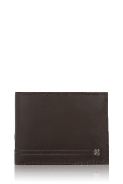 Swissgear Mens Embossed Double Stripe Bifold Wallet - Brown