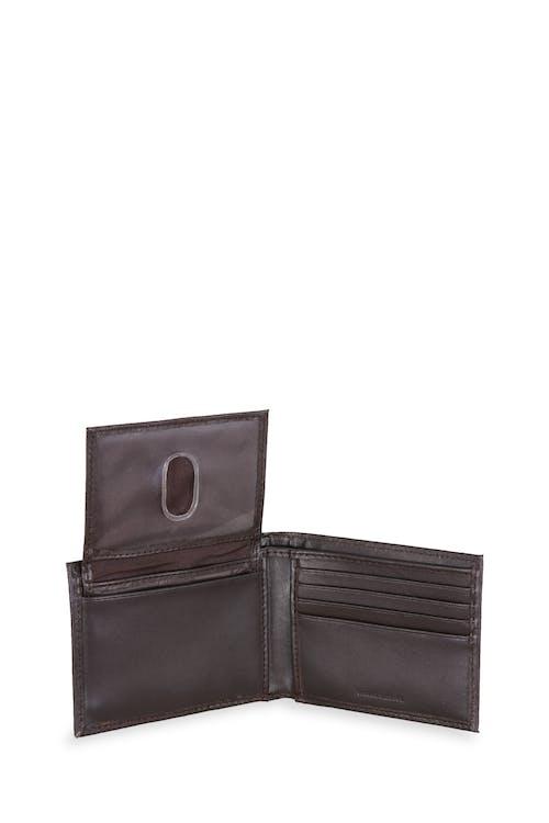 Swissgear Men's Embossed Double Stripe Bifold Wallet Bifold leather wallet with flip up ID