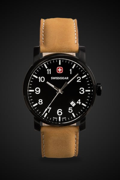 SWISSGEAR Legacy Watch - Black with Black Dial & Light Brown Strap