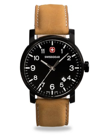 LEGACY WATCH - BLACK WITH BLACK DIAL & LIGHT BROWN STRAP