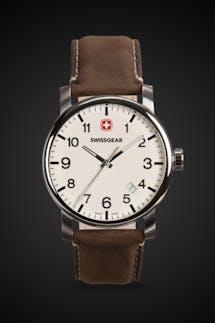 Swissgear Legacy Watch - Silver with Cream Dial & Dark Brown Strap