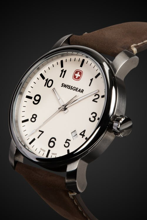 Swissgear Legacy Watch - Silver with Cream Dial & Dark Brown Strap
