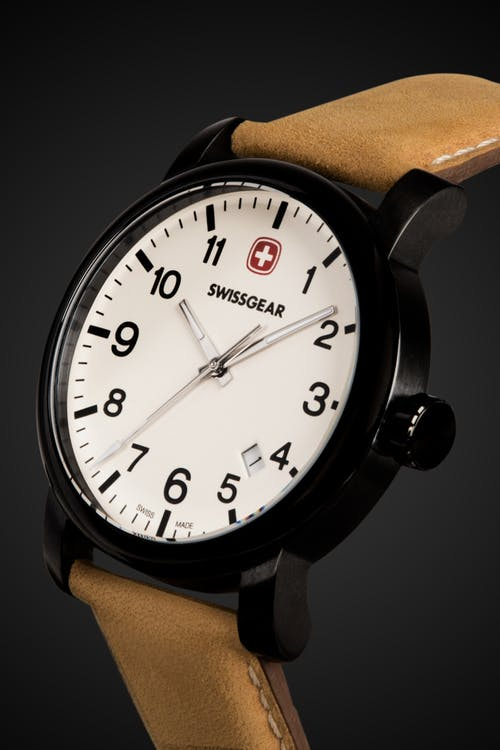 Swissgear Legacy Watch - Black with Cream Dial & Light Brown Strap