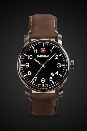 Swissgear Legacy Watch - Silver with Black Dial & Dark Brown Strap