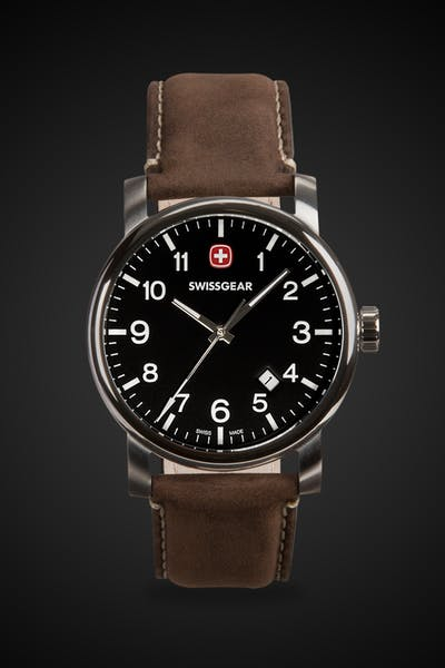 Swissgear Legacy Watch - Silver with Black Dial & Dark Brown Strap