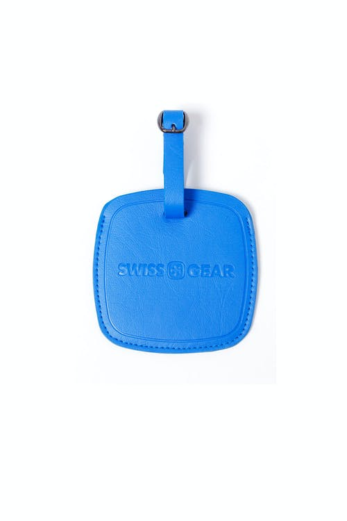 SWISSGEAR BLUE JUMBO LUGGAGE TAG ATTACHES WITH ADJUSTABLE BUCKLE