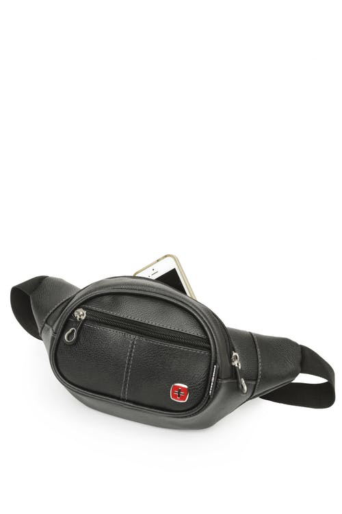 Swissgear 0436 Faux Leather Waist Bag  Roomy zippered central compartment