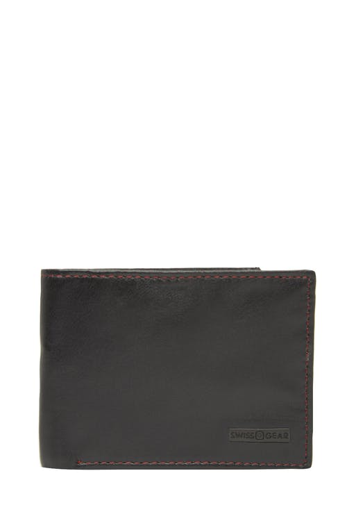 Swissgear 66105 Leather Billfold Wallet with RFID Shield - Black with Red Stitch