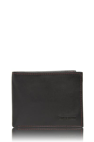 Swissgear 66117 Leather Billfold Wallet with RFID Shield and Removable ID Case - Black with Red Stitch