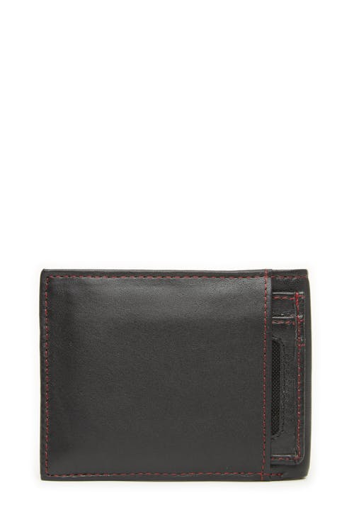 Swissgear 66152 Leather Billfold Wallet with RFID Shield and Removable ID Case Accent Red Stitching