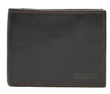 SWISSGEAR 66152 LEATHER BILLFOLD WALLET WITH RFID SHIELD AND REMOVABLE ID CASE - BLACK WITH RED STITCH