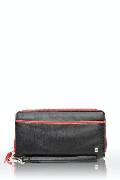 Swissgear 66702 Ladies RFID Zip-Around Wallet - Black/Red