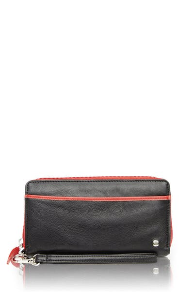 Swissgear 66702 Ladies RFID Zip-Around Wallet - Black/Red
