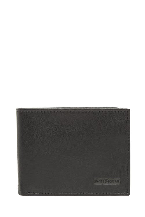 Swissgear 61106 Leather Billfold Wallet with Center ID Wing - Black