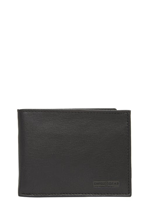 Swissgear 61135 Leather Billfold Wallet with Removable ID Flap - Black