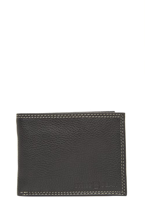 Swissgear 62135 Leather Billfold Wallet with Removable ID Flap - Black